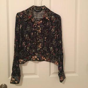 Zara Floral Button-down Crepe Blouse